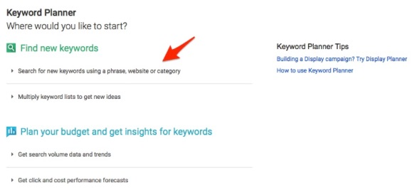 Click on search for new keywords field