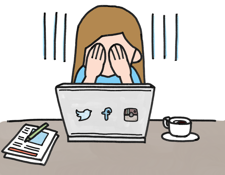 Woman feeling overwhelmed by her social media marketing strategy