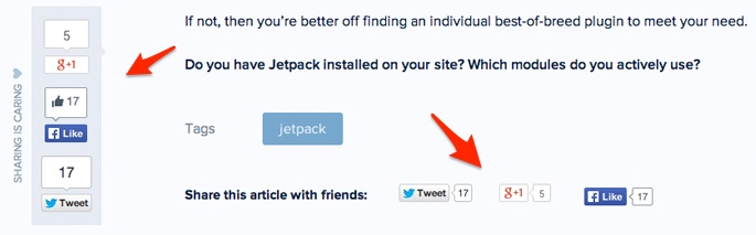 Good places for social share buttons in a blog post