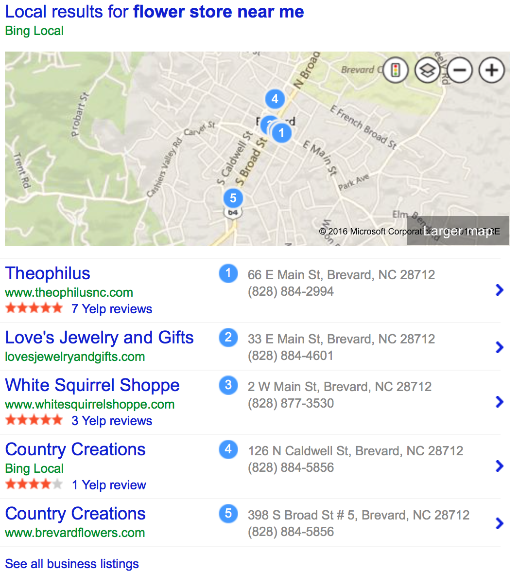 Local business listings from Bing local search