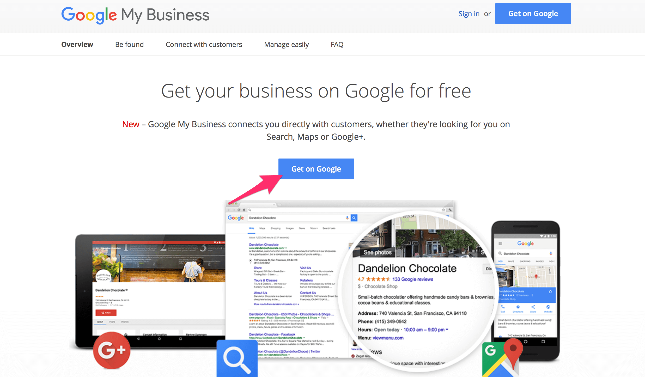 Homepage screenshot for Google My Business setup process