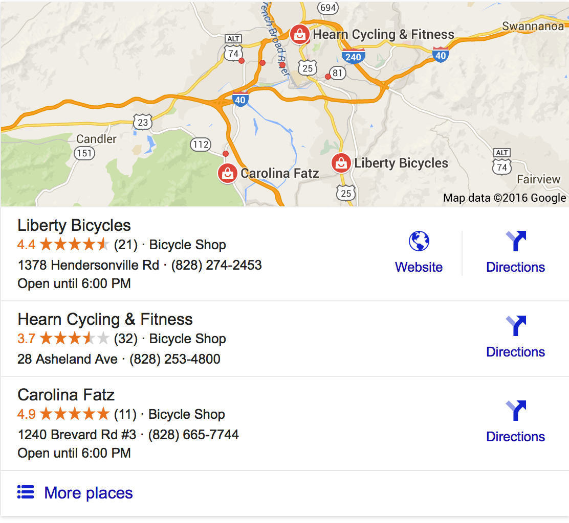 Snapshot showing local business search results in Google